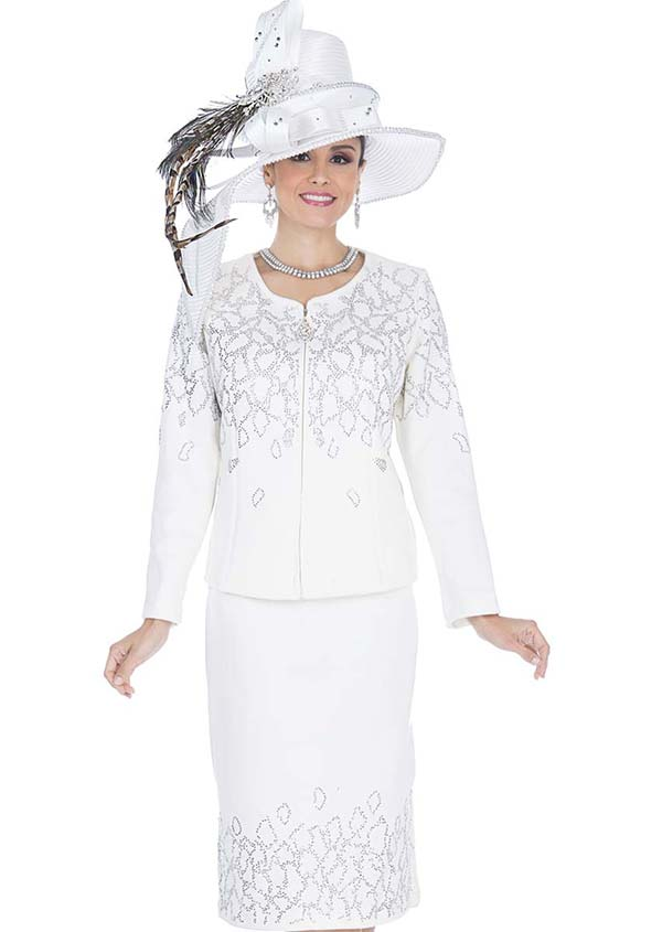 Elite Champagne 5159 Exclusive Knit Fabric Jacket & Skirt Suit With Embellishments