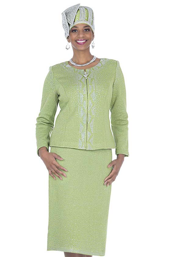 Elite Champagne 5161 Exclusive Knit Fabric Jacket & Skirt Suit With Embellishments