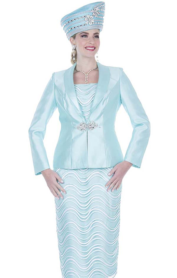 Elite Champagne 5212 Twill Satin Fabric Skirt Suit With Piping Stripe Design