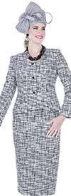 Elite Champagne 5252 Exclusive Poly Knit Fabric Jacket & Skirt Suit With Square Neckline