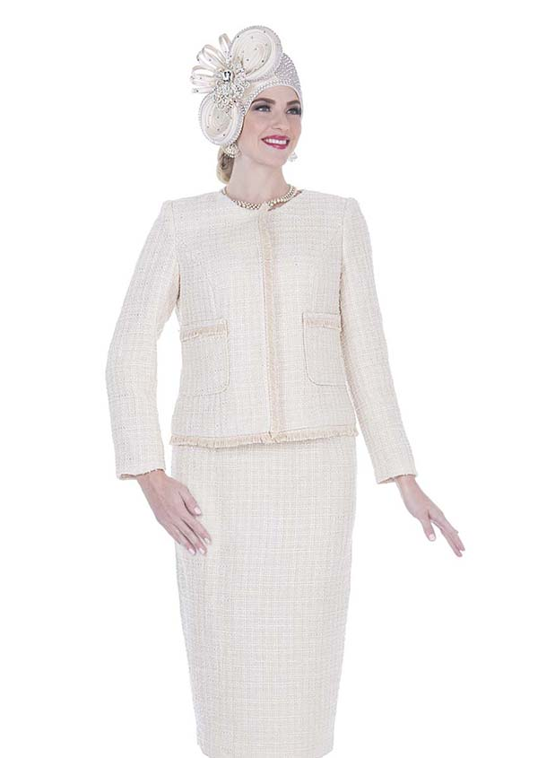 Elite Champagne 5253 Exclusive Poly Knit Fabric Jacket & Skirt Suit With Short Fringe Trim