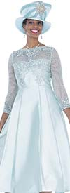 Elite Champagne 5257 Special Lace & Twill Fabric Pleated A-Line Dress