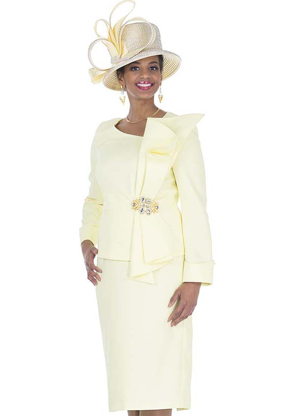 Elite Champagne 5271 Vertical Bow Adorned Jacket & Skirt Suit