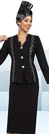 Fifth Sunday 52849-Black - Rhinestone Embellished Skirt Suit With Star Neckline