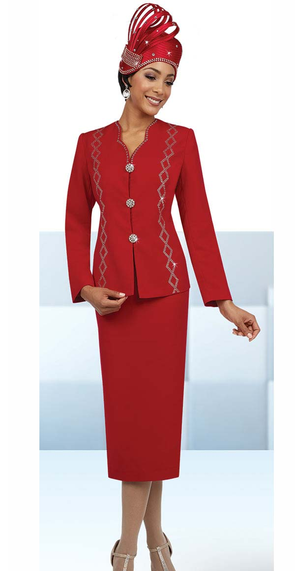 Fifth Sunday 52849-Red - Rhinestone Embellished Skirt Suit With Star Neckline
