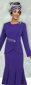 Fifth Sunday 52851-Purple - Womens Church Suit With Wrap Around Jacket & Flared Skirt