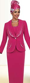 Fifth Sunday 52852-Fuchsia - Womens Skirt Suit For Church With Embellished Shawl Lapels