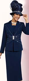 Fifth Sunday 52853-Navy - Womens Skirt Suit For Church With Peak Lapels