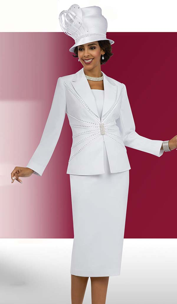 Fifth Sunday 52853-White - Skirt Suit For Church With Peak Lapels
