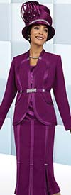 Fifth Sunday 52854-Magenta - Godet Pleated Womens Skirt Suit For Church