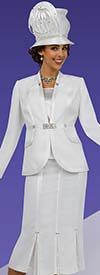 Fifth Sunday 52854-OffWhite - Godet Pleated Womens Skirt Suit For Church