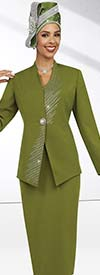 Fifth Sunday 52855-Cactus - Womens Skirt Suit With Embellished Wrap Around Jacket