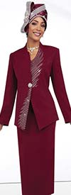 Fifth Sunday 52855-Wine - Womens Skirt Suit With Embellished Wrap Around Jacket