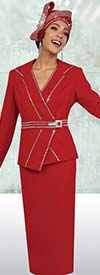 Fifth Sunday 52856-Red - Skirt Suit For Church With Embellished Trims