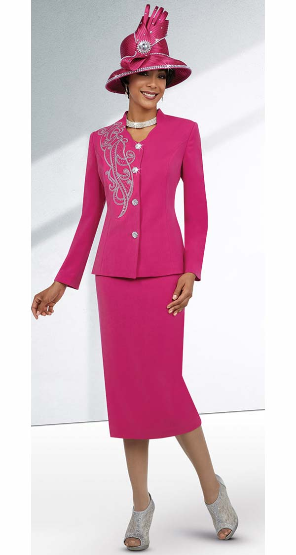Fifth Sunday 52857-Fuchsia - Embellished Star Neckline Skirt Suit For Church