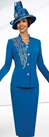 Fifth Sunday 52857-Royal - Embellished Star Neckline Skirt Suit For Church