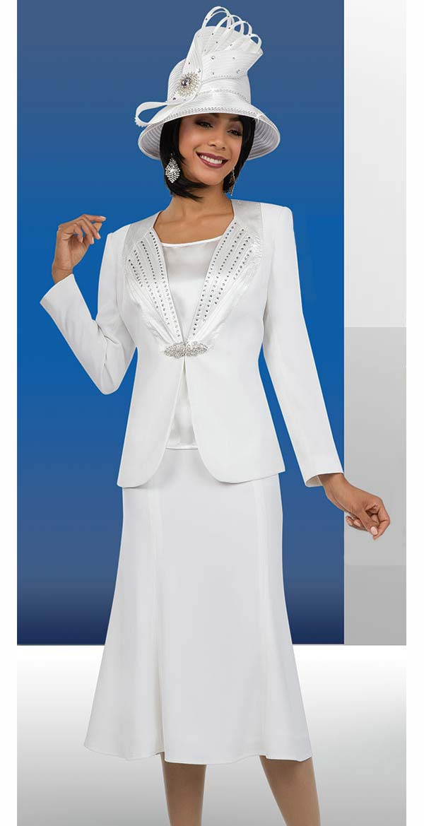 Fifth Sunday 52858-OffWhite - Three Piece Flared Skirt Suit For Church