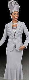 Fifth Sunday 52859-Platinum - Three Piece Flared Skirt Suit With Wide Lapels