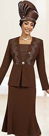Fifth Sunday 52860-Chocolate - Womens Skirt Suit For Church With Embellished Jacket