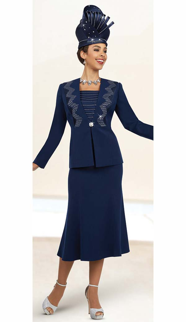 Fifth Sunday 52860-Navy - Womens Skirt Suit For Church With Embellished Jacket