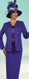Fifth Sunday 52861-Purple - Three Piece Skirt Suit For Church With Embellished Jacket