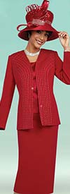 Fifth Sunday 52861-Red - Three Piece Skirt Suit For Church With Embellished Jacket