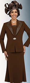Fifth Sunday 52862-Chocolate - Flared Skirt Suit With Diamond Lapels