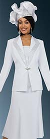 Fifth Sunday 52862-White - Flared Skirt Suit With Diamond Lapels