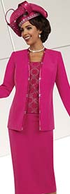 Fifth Sunday 52864-Fuchsia - Three Piece Skirt Suit With Satin Trim