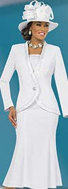 Clearance Fifth Sunday 52823-White Pleated Trim Church Suit For Women Pleated Trim
