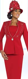 Fifth Sunday 52824-Red Embellished Church Suit For Ladies