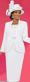 Fifth Sunday 52825-White Embroidered First Lady Church Suit