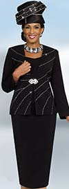 Fifth Sunday 52829-Black Two Piece Skirt Suit With Embellished Jacket