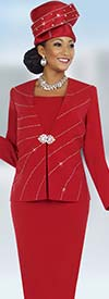 Fifth Sunday 52829-Red Two Piece Skirt Suit With Embellished Jacket