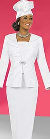 Clearance Fifth Sunday 52829-White Two Piece Skirt Suit With Embellished Jacket