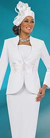 Fifth Sunday 52831-White - Embroidered Two Piece Womens Church Suit