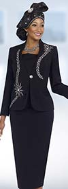 Fifth Sunday 52833-Black Jewel Embellished Skirt Suit With Embroidery