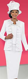 Fifth Sunday 52846-White Embellished Design Skirt Suit With Jewel Neckline