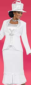 Clearance Fifth Sunday 52847-White Flounce Skirt Suit With Satin Trimmed Jacket
