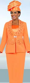 Fifth Sunday 52848-Tangerine Church Suit For Women With Laser Cut Design