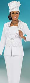 Fifth Sunday 52848-White Church Suit For Women With Laser Cut Design