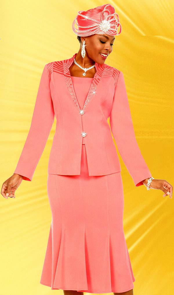 Fifth Sunday 52865-Coral - Embellished Pleated Skirt Suit