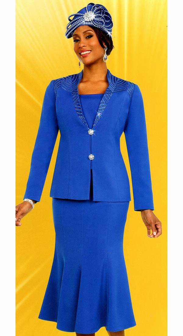 Fifth Sunday 52865-Royal - Embellished Pleated Skirt Suit