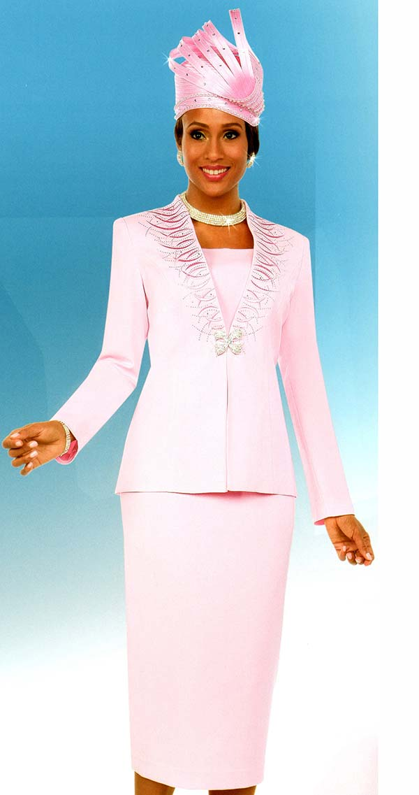 Fifth Sunday 52866-Pink - Embellished Womens Skirt Suit