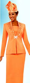Fifth Sunday 52866-Tangerine - Embellished Womens Skirt Suit