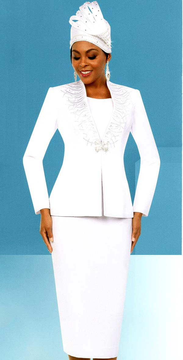 Fifth Sunday 52866-White - Embellished Womens Skirt Suit