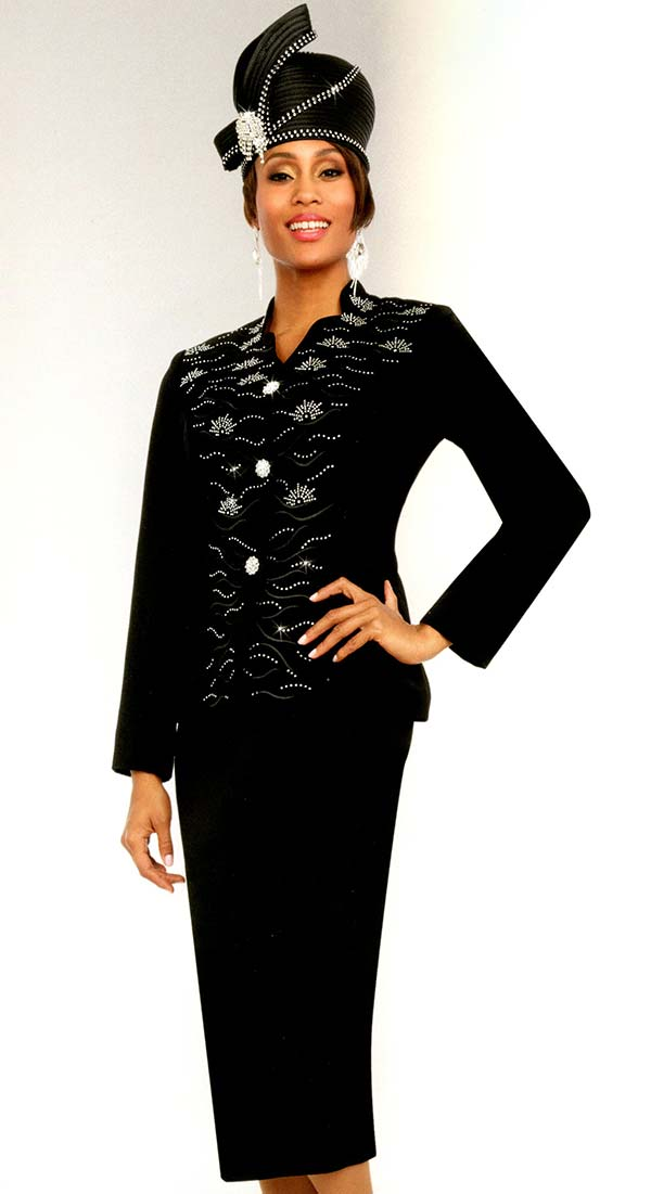Fifth Sunday 52867-Black - Embellished Womens Church Suit With Star Neckline