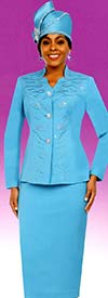 Fifth Sunday 52867-Blue - Embellished Womens Church Suit With Star Neckline