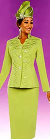 Fifth Sunday 52867-Kiwi - Embellished Womens Church Suit With Star Neckline