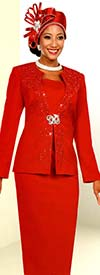 Fifth Sunday 52868-Red - Embellished Womens Church Suit